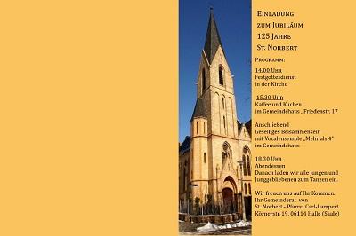Prgramm mit Foto der Kirche St. Norbert, Halle
