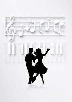 tanzendes Paar als Schattenriss, Klavier und Noten als Schattenaufriss