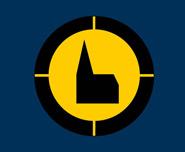 Logo Nacht der Kirchen, gelber Hintergrund mit Schattenriss einer Kirche