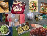 Collage aus Bildern mit Essen und Zusammensein