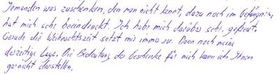 handschriftlicher Dank eines Häftlings für ein Weihnachtsgeschenk