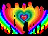 eine stilistische Gruppe von Menschen in Regenbogenfarben in der Mitte bildet sich ein Herz