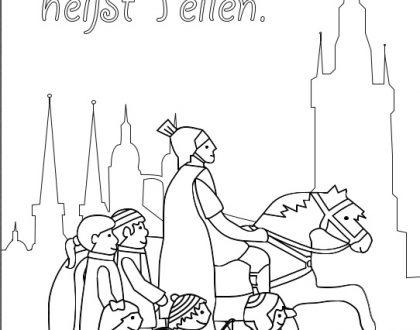 Martinsreiter umringt von Kindern vor den 5 Türmen der Stadt Halle (Saale)